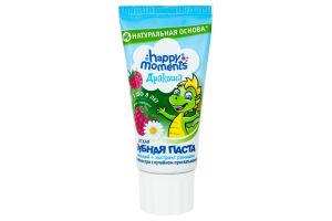 Зубная паста детская гелевая Малина Дракоша 1-8 лет Happy moments 60мл