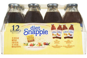 Snapple Diet Peach Tea, Diet Raspberry Tea, Diet Lemonade Tea, Diet Plum-A-Granate Tea - 12 PK