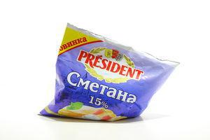 Сметана 15% President м/у 350г