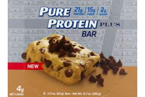 Pure Protein Plus Bar Chocolate Chip Cookie Dough - 6 CT