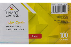 Smart Living Index Cards Assorted Colors Ruled - 100 CT