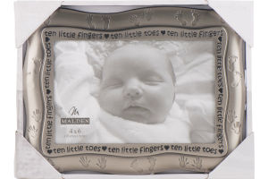 Malden 4x6 Brushed Metal Baby Picture Frame