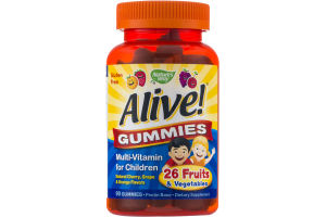 Nature's Way Alive! Gummies Multi-Vitamin for Children Cherry, Grape & Orange - 90 CT