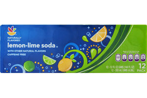 Ahold Soda Lemon-Lime Caffeine Free - 12 CT