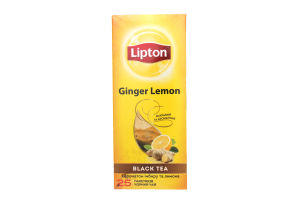 Чай черный байховый с ароматом имбиря и лимона Ginger Lemon Lipton к/у 25х1.8г