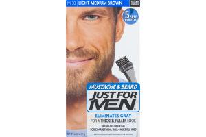 Just For Men Mustache & Beard Brush-In Color Gel M-30 Light-Medium Brown