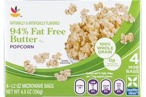 Ahold Butter Popcorn 94% Fat Free Microwave - 4 CT