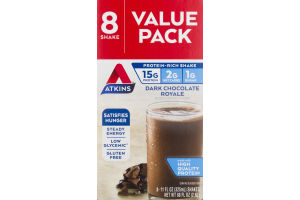 Atkins Dark Chocolate Royale Shake Value Pack - 8 CT