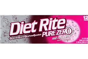 Diet Rite Pure Zero Red Raspberry Soda - 12 CT