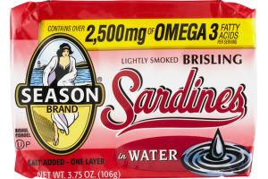 Season Brand Sardines Lightly Smoked Brisling In Water