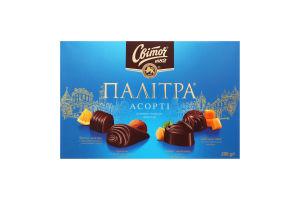 Цукерки в чорному шоколаді Палітра Асорті Світоч к/у 200г