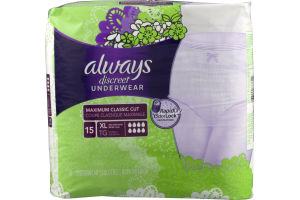 Always Discreet Underwear Maximum Classic Cut XL - 15 CT