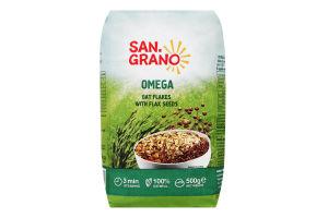 Пластівці вівсяні швидкого приготування з насінням льону Омега San Grano м/у 500г