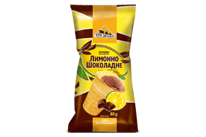 Морозиво лимонно-шоколадне з наповнювачем шоко-віскі Три Ведмеді м/у 80г