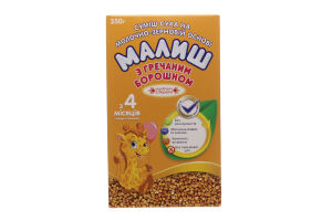 Смесь сухая на молочно-зерновой основе для детей от 4мес С гречневой мукой Малиш к/у 350г