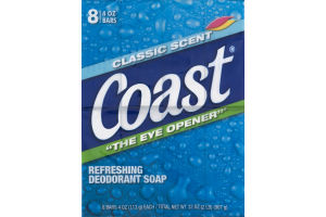Coast Refreshing Deodorant Soap Classic Scent - 8 CT