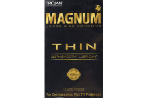 Trojan Magnum Thin Latex Condoms Thin - 12 CT