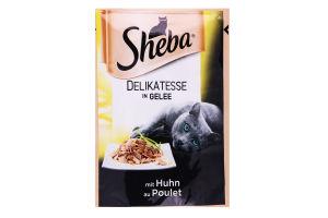 Корм для взрослых котов с курицей в желе Sheba м/у 85г