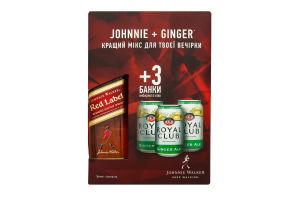 Набiр віскі Johnnie Walker red label 0.5л х 3 Ginger Ale 0.33