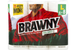 Brawny Paper Towels Full Sheet Large Rolls - 6 CT