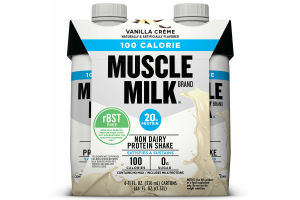Muscle Milk 100 Calorie Non-Dairy Protein Shake, Vanilla Crème, 20g Protein, Ready to Drink, 11 fl. oz., 4-Pack