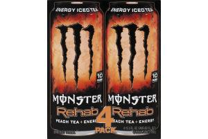 Monster Rehab Peach Tea + Energy - 4 PK