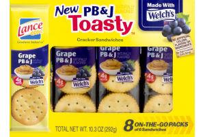 Lance Toasty On-The-Go Packs PB & J Cracker Sandwiches - 8 PK