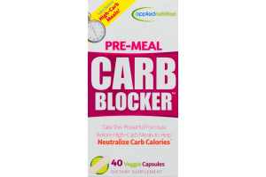 Applied Nutrition Pre-Meal Carb Blocker Dietary Supplement Veggie Capsules - 40 CT