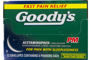 Goody's PM Pain Reliever Nighttime Sleep-Aid Powders - 12/6 CT