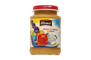 Пюре для дітей від 6міс Яблуко та персик з сиром Hame с/б 190г