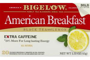 Bigelow American Breakfast Black Tea With Lemon Bags - 20 CT