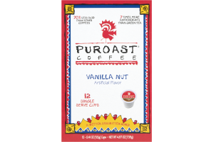 Puroast Coffee K Cups Vanilla Nut - 12 CT