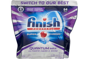 Finish Automatic Dishwasher Detergent Super Charged Quantum Max - 64 CT