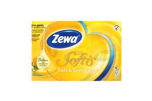 Платочки бумажные неароматизированные 20.8х21см 4-х слойные Soft&Sensetive Zewa 6х9шт