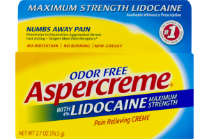 Aspercreme With Lidocaine Maximum Strength Pain Relieving Creme