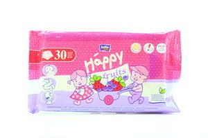 Салфетки Baby Happy Fruits влажные д/детей с аром клубники и черники Bella м/у 30шт