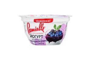 Йогурт 6.5% двухслойный Черника-черная смородина Premialle ст 140г
