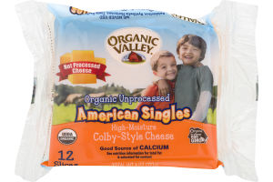 Organic Valley Organic Unprocessed American Cheese Singles Colby-Style - 12 CT