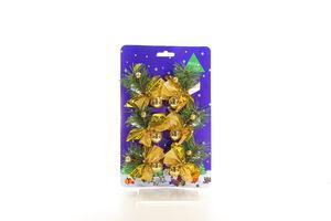 Набір новорічних прикрас 6 хвойних гілочок з золотими прикрасами Маг 2000 5*8 см блістер 470471