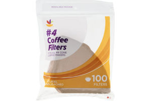 Ahold Coffee Filters #4 Cone Natural Unbleached - 100 CT