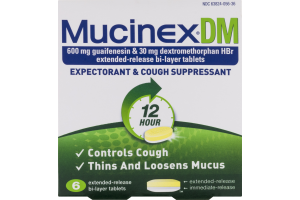 Mucinex DM Expectorant & Cough Suppressant Bi-Layer Tablets - 6 CT