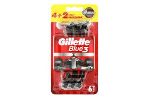 Бритвенные станки одноразовые Blue 3 Gillette 6шт
