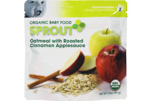 Sprout Intermediate Oatmeal with Roasted Cinnamon Applesauce Organic Baby Food