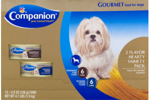Companion Gourmet Food For Dogs Hearty Variety Pack - 12 CT