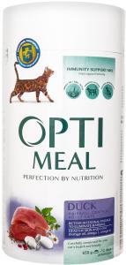 Корм сухий з качкою і ефектом виведення шерсті для дорослих кішок Optimeal к/у 650г