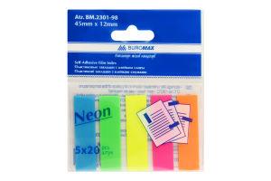 "Закладки пласт ""Neon"" з клейким шаром (45x12мм) 1шт /Бюромакс/"