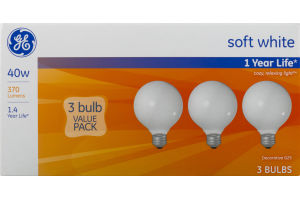 GE Soft White 40W Bulbs - 3 CT