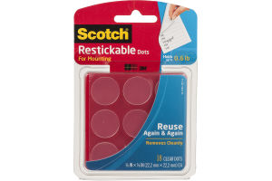 Scotch Restickable Dots For Mounting Clear - 18 CT