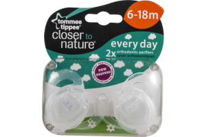 Tommee Tippee Closer to Nature Everyday Orthodontic Pacifiers 6-18M - 2 CT