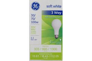 GE Soft White 3 Way 30/70/100W Bulb
